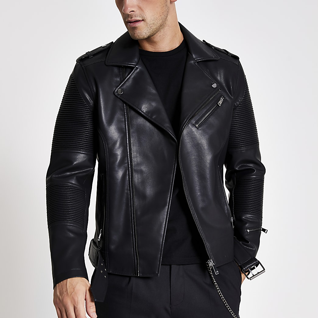 Black faux leather belted biker jacket