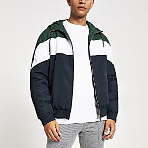 Maison Riviera grüne Jacke mit Kapuze in Blockfarben