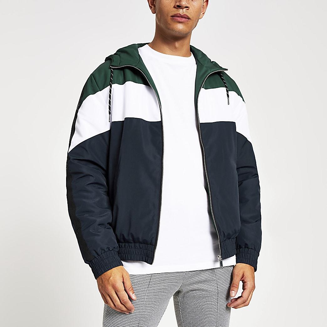Maison Riviera – Grüne Jacke mit Kapuze in Blockfarben