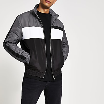 Maison Riviera grey colour blocked jacket