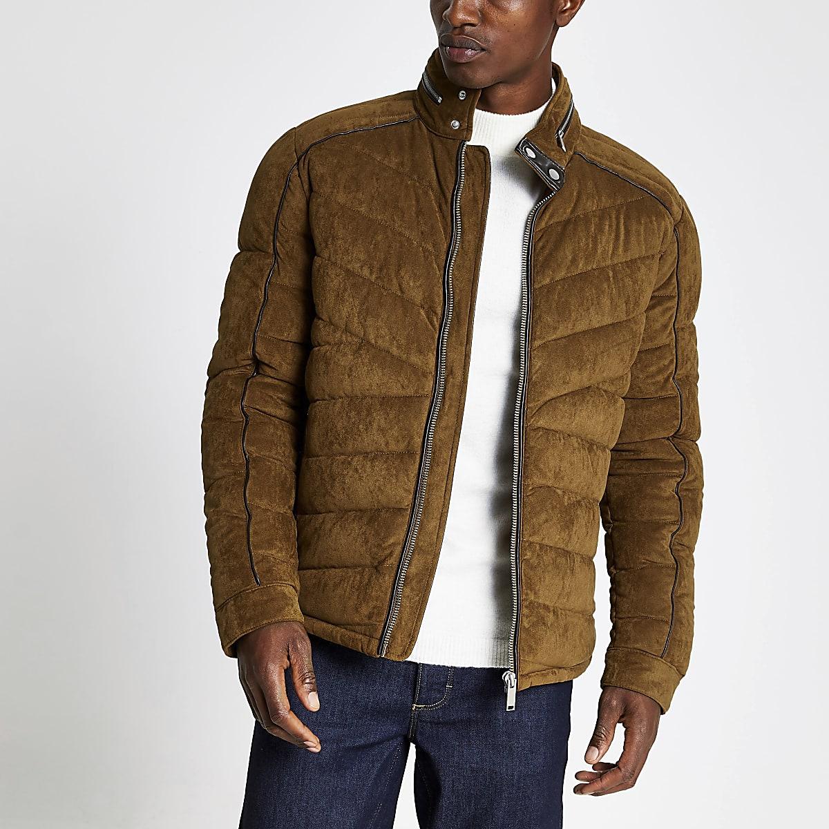 Manteau motard matelassé en suédine marron