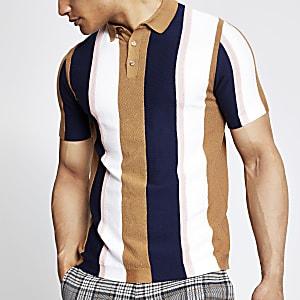 Gestreiftes Slim Fit Poloshirt in Hellbeige