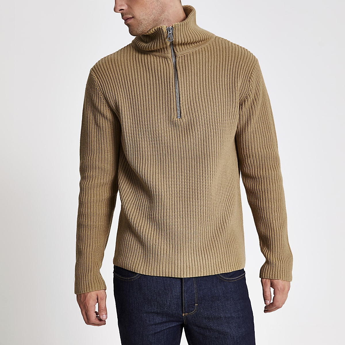 Beige zip funnel neck fisherman knit  jumper