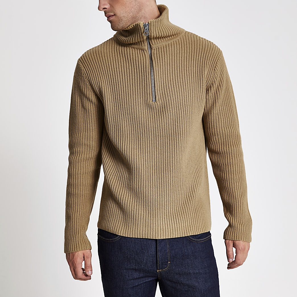 Beige zip funnel neck fisherman knit  jumper