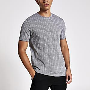 Grey pinstripe utility sleeve T-shirt