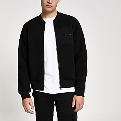 Black Maison Riviera textured bomber jacket
