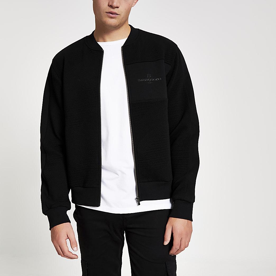 Maison Riviera black textured bomber jacket
