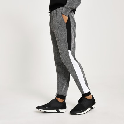 Black herringbone blocked slim fit joggers