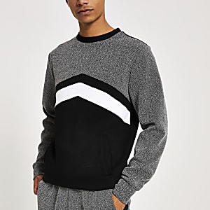 Schwarzes Slim Fit Sweatshirt in Blockfarben und mit Fischgrätmuster