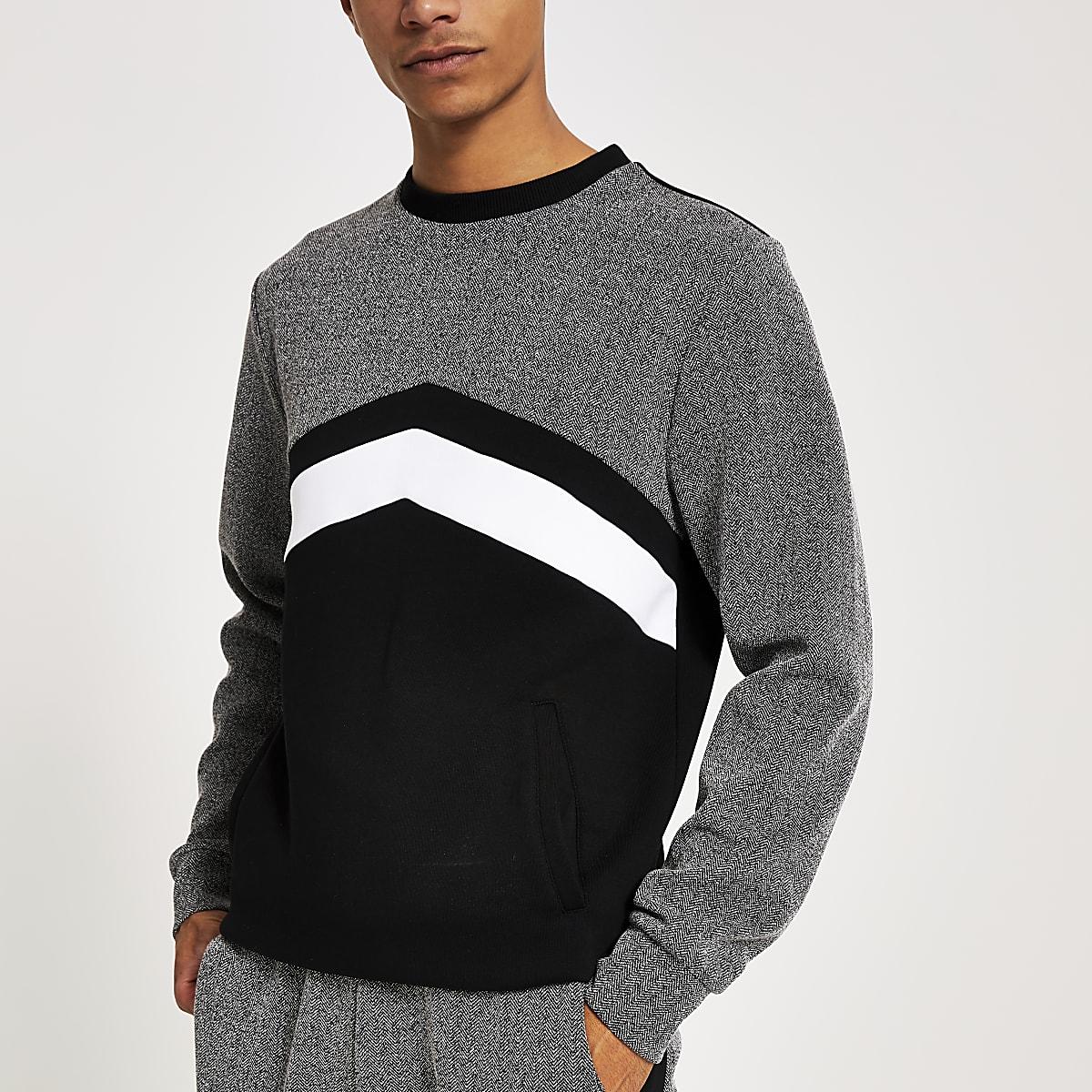 Black herringbone blocked slim fit sweatshirt