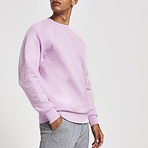 "Sweatshirt in Lila mit ""Maison Riviera""-Stickerei"