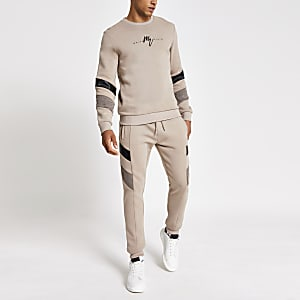 Maison Riviera – Steingraues Sweatshirt in Blockfarben