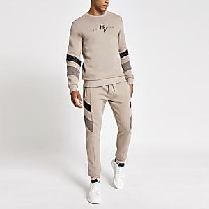 Maison Riviera - Kiezelkleurige sweater met kleurvlakken