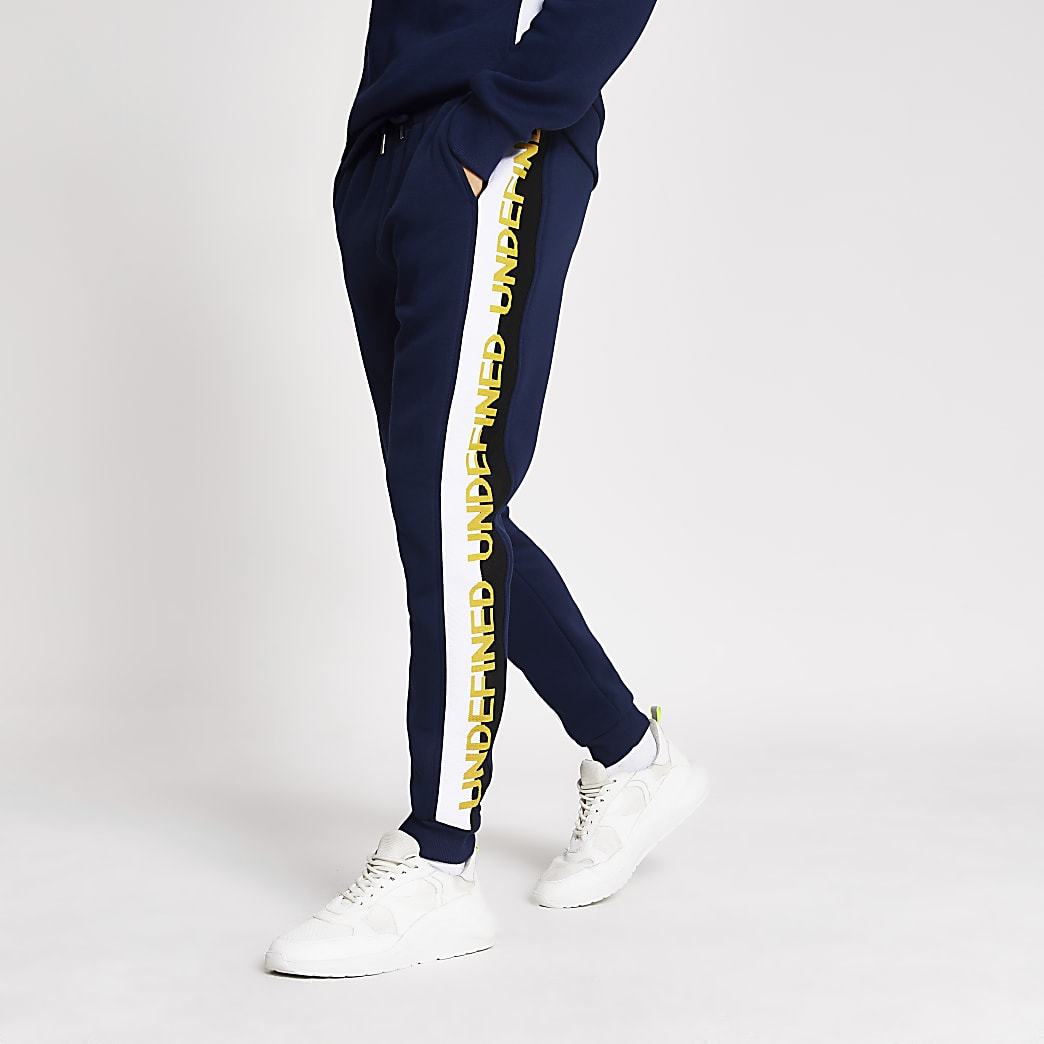 Navy Undefined embroidered joggers