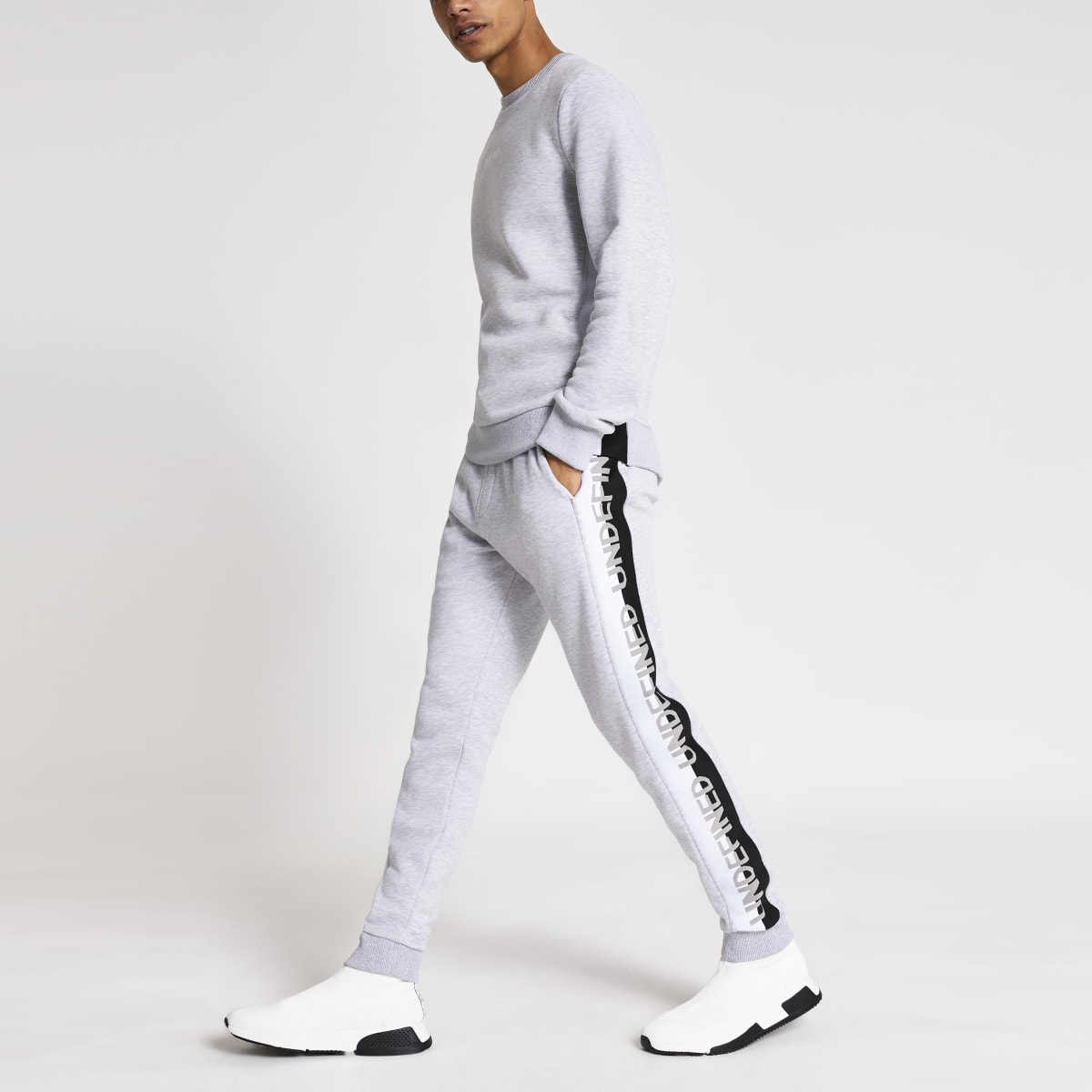 Grey marl Undefined embroidered joggers