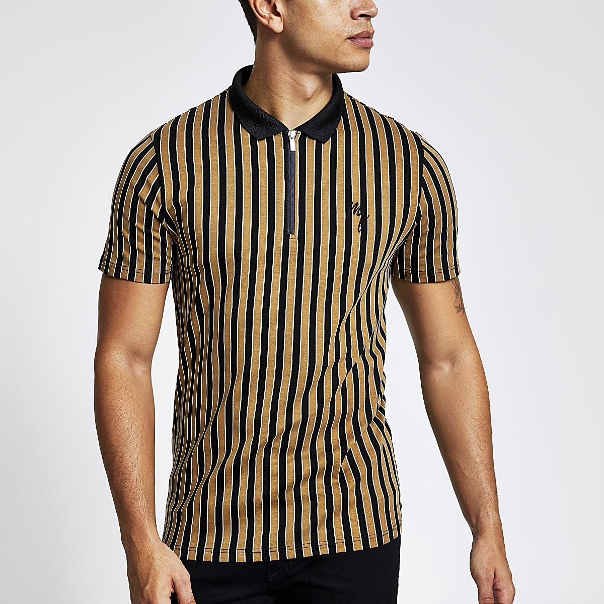 Maison Riviera brown slim fit zip polo shirt
