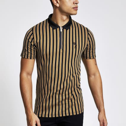 Brown stripe slim fit half zip polo shirt