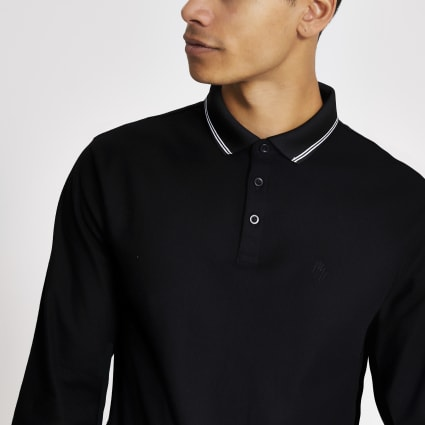 Black long sleeve pique polo shirt