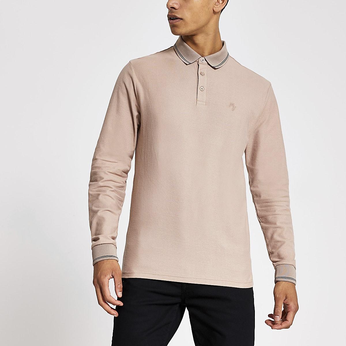 Stone long sleeve slim fit polo shirt