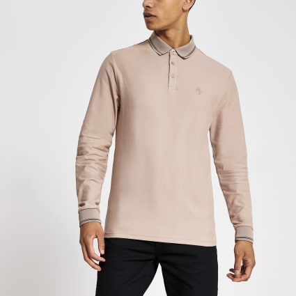 Stone long sleeve slim fit polo shirt