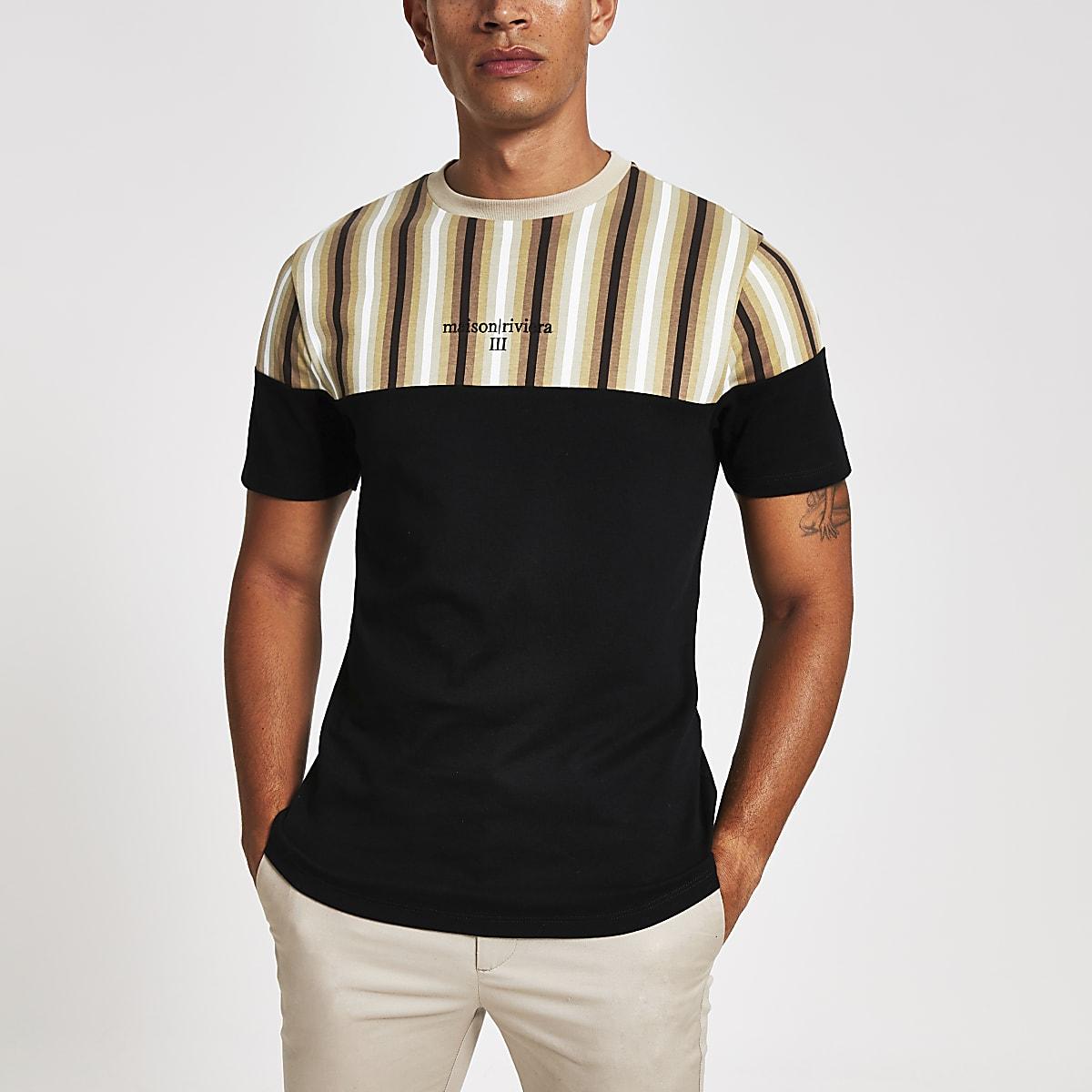Zwart gestreept slim-fit ombre T-shirt met kleurvlakken