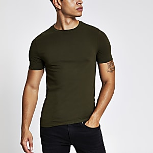 Muscle Fit T-Shirt in Khaki mit kurzen Ärmeln