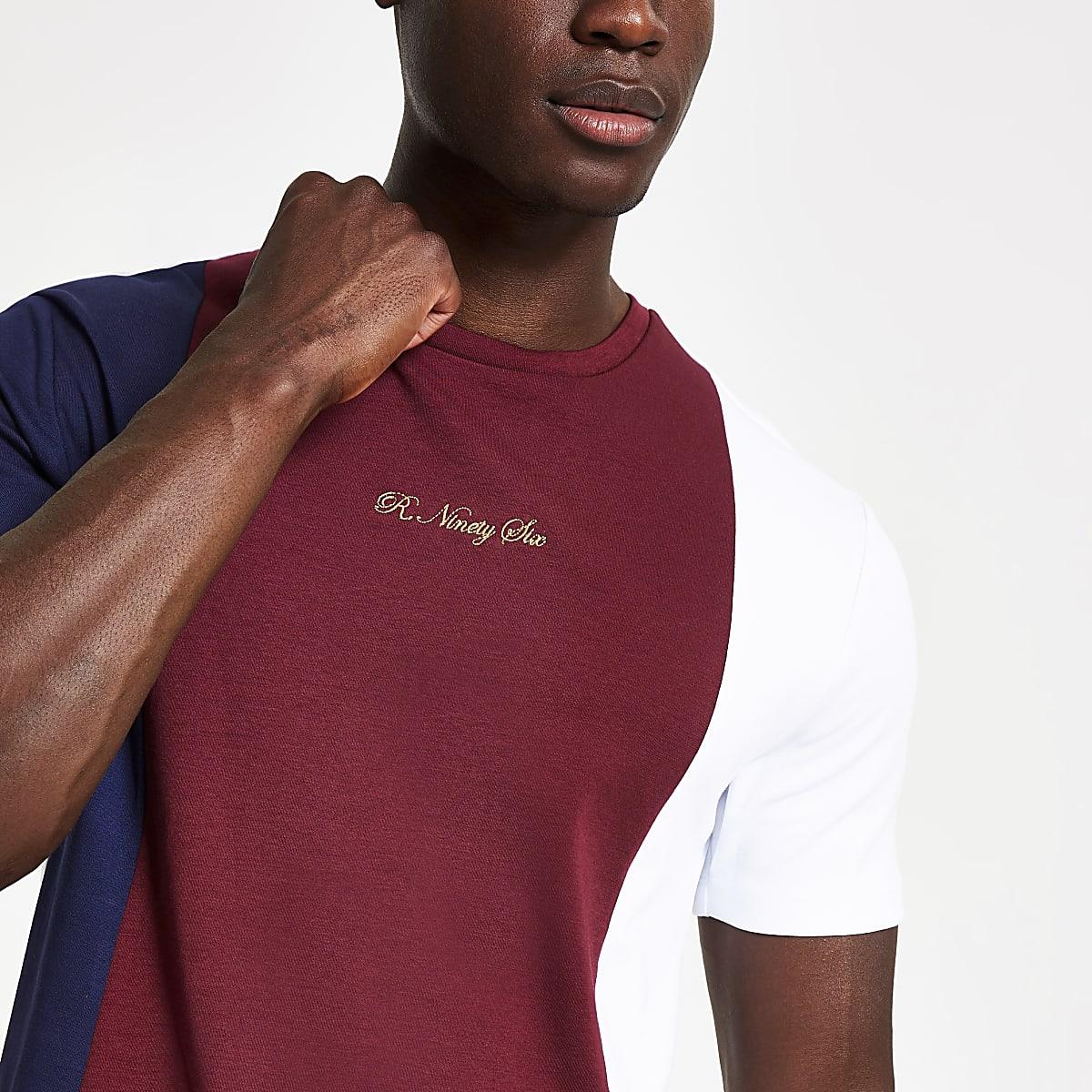 Red R96 colour block slim fit T-shirt