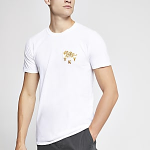 White dragon embroidered slim fit T-shirt
