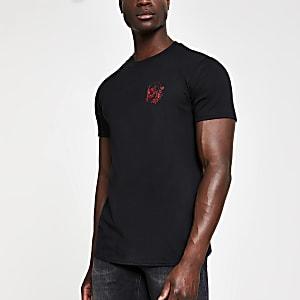 Schwarzes Slim Fit T-Shirt mit Totenkopfstickerei