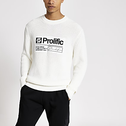 Prolific ecru long sleeve fisherman jumper