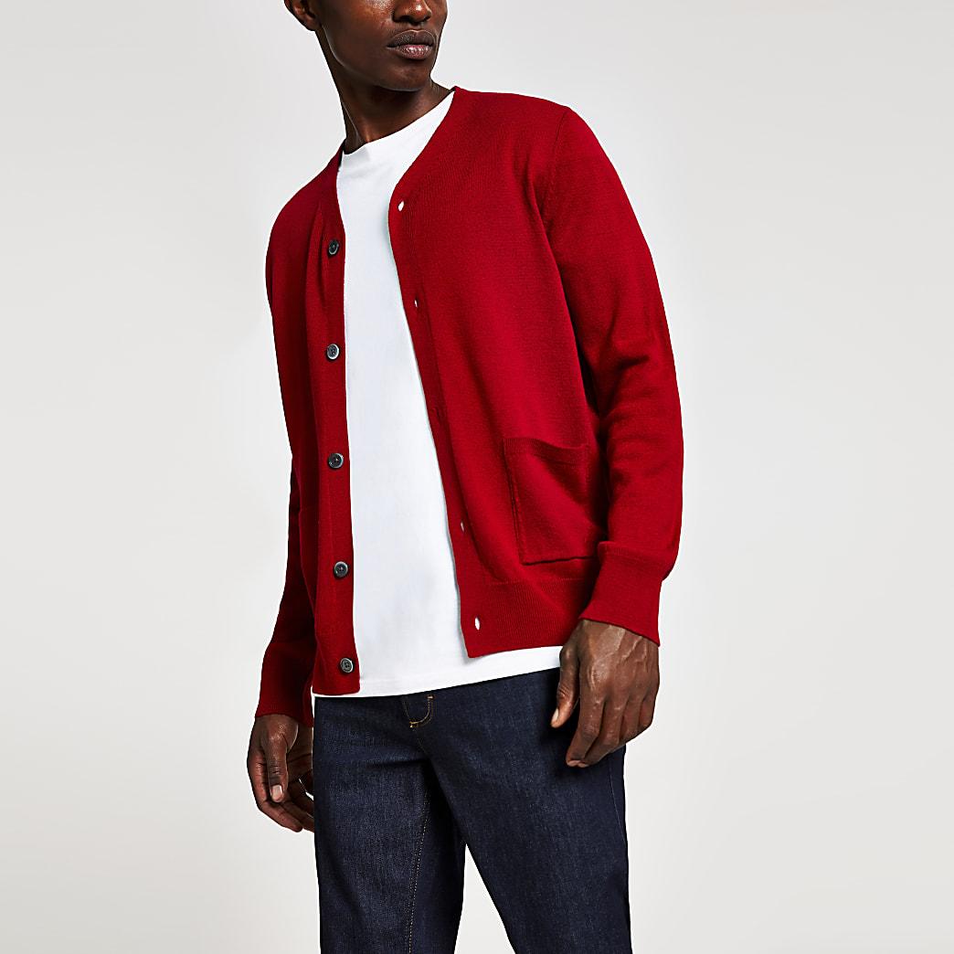 Cardigan rouge en maille serrée avec boutons