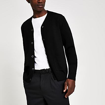 Black fine knit button front cardigan