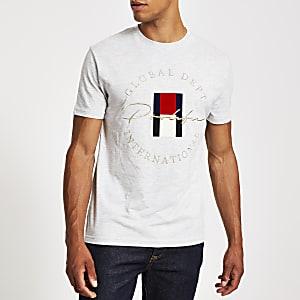 Prolific - Grijs geborduurd slim-fit T-shirt