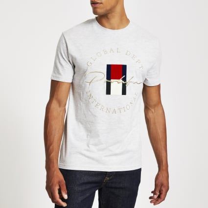 Grey Prolific embroidered slim fit T-shirt
