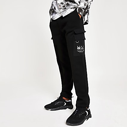 Black SVNTH regular fit utility joggers