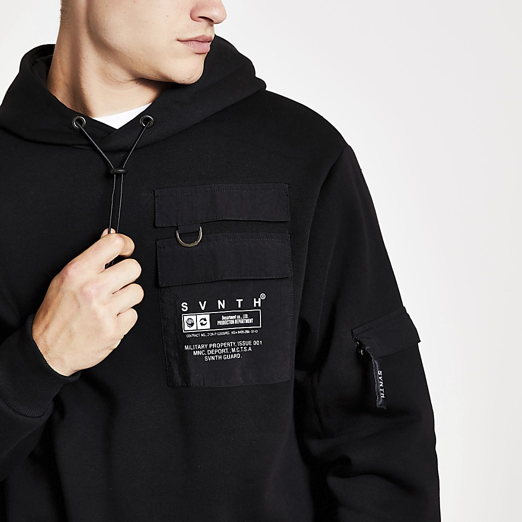 Black Svnth utility hoodie