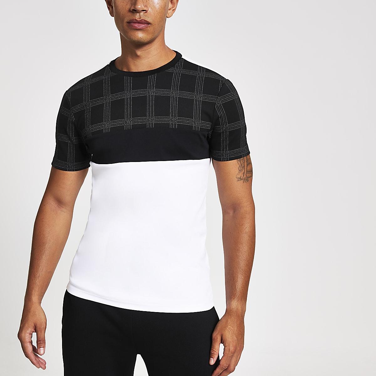 Zwart geruit slim-fit T-shirt met kleurvlakken