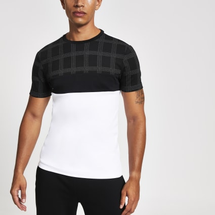 Black check blocked slim fit T-shirt