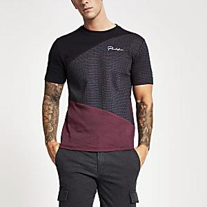 Prolific - Marineblauw slim-fit T-shirt met kleurvlakken