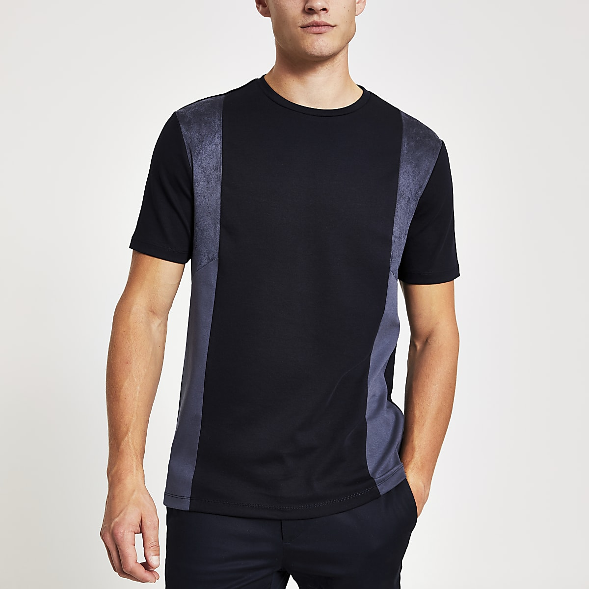 Navy vertical suede panel slim fit T-shirt