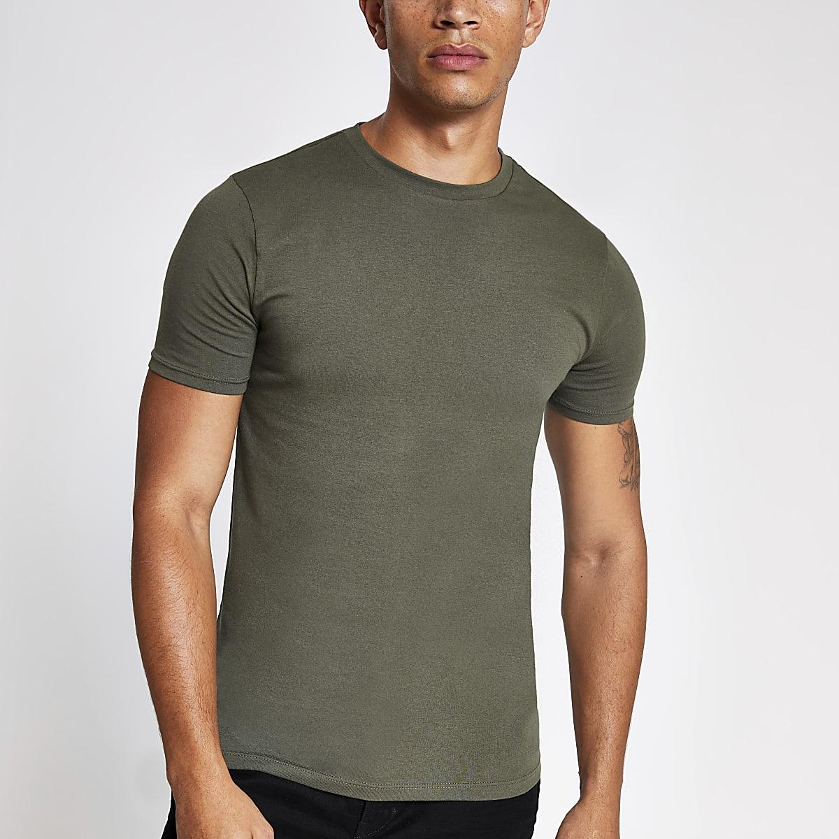 Kaki aansluitend T-shirt met korte mouwen