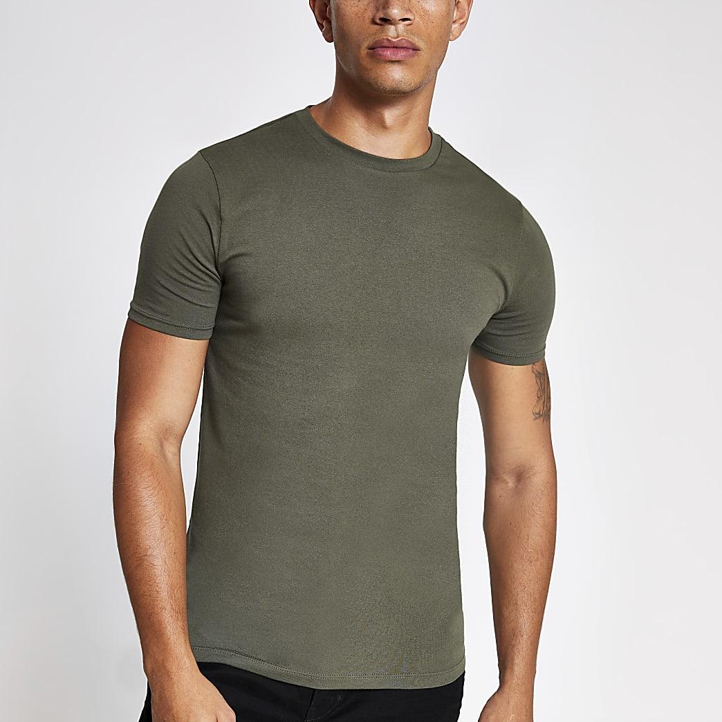 Khaki muscle fit short sleeve T-shirt