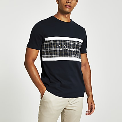 Navy check blocked Prolific slim fit T-shirt