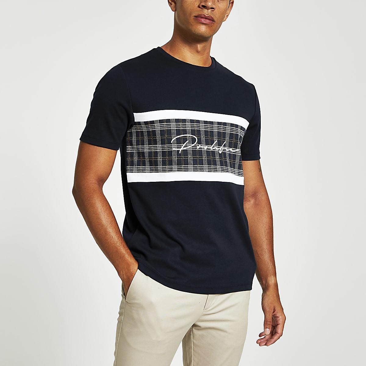 Marineblauw geruit slim-fit T-shirt met Prolific-tekst en kleurvlakken
