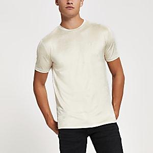 Kiezelkleurig slim-fit T-shirt van imitatiesuède