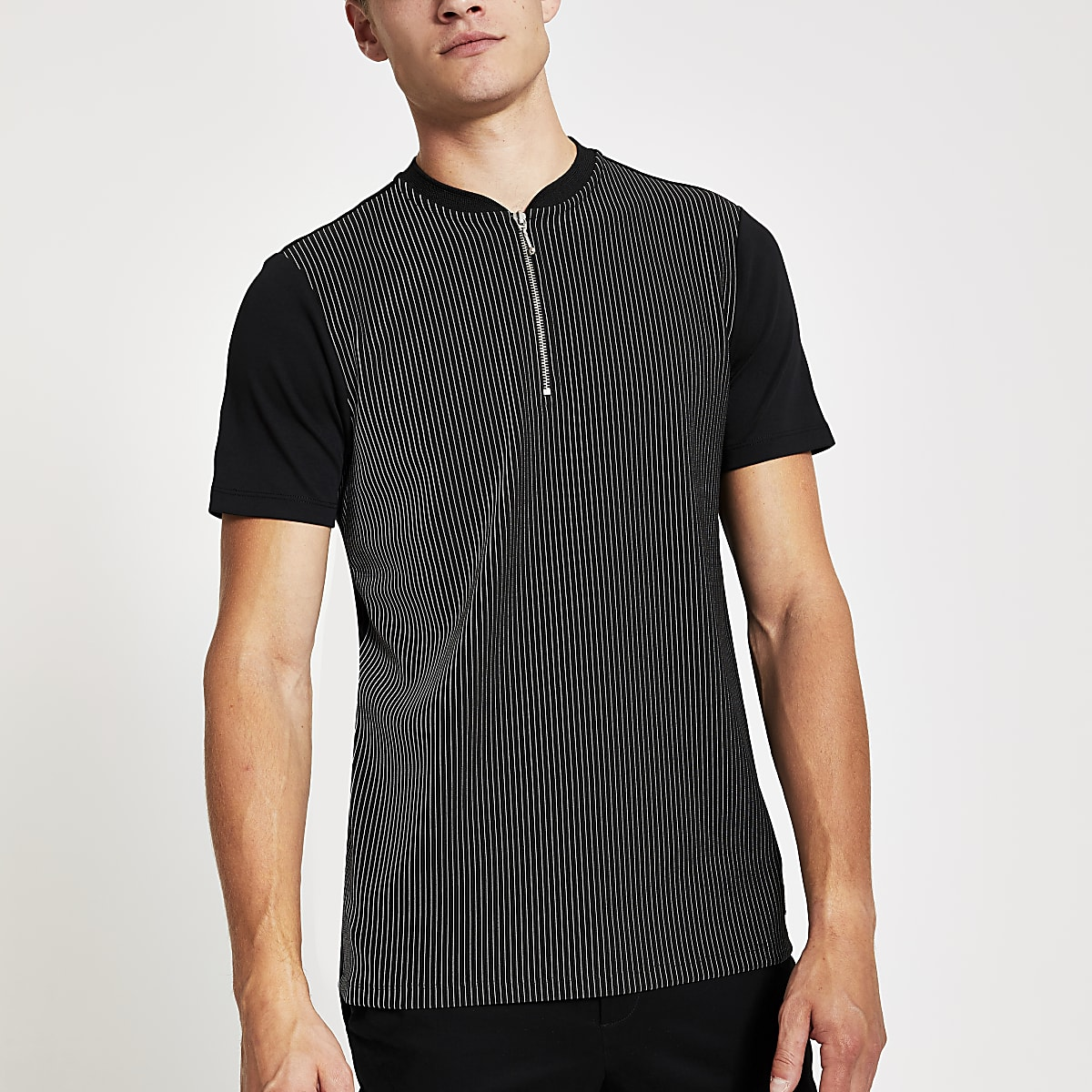 Black pinstripe zip neck slim fit polo shirt
