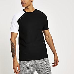 Black Maison Riviera tape slim fit T-shirt