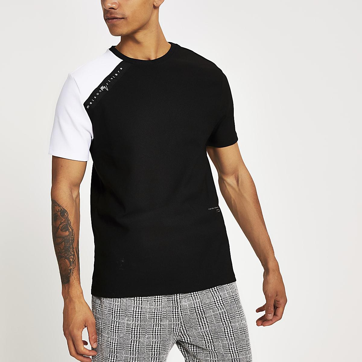 T-shirt slim noir avec bande Maison Rivera