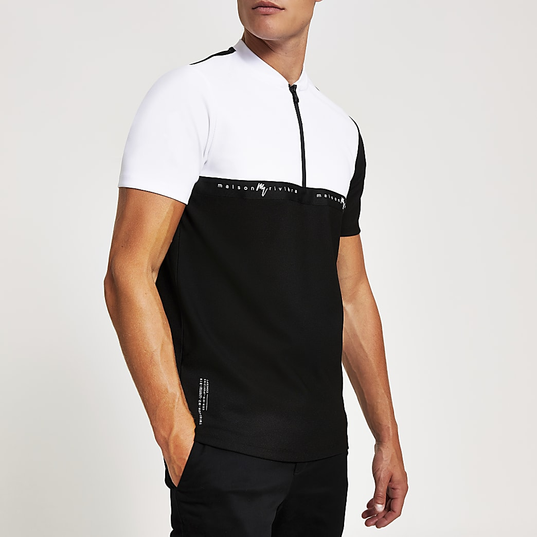 White Maison Riviera slim fit zip polo shirt