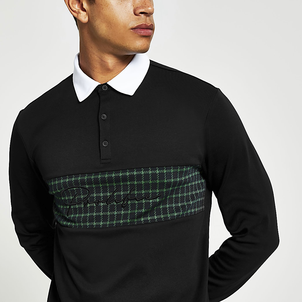 Prolific black check slim fit rugby shirt